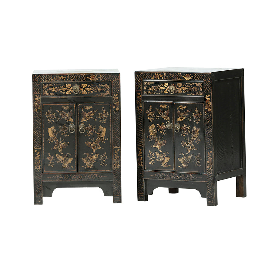 Bedside Table Black Set of 2 40x32x60cm