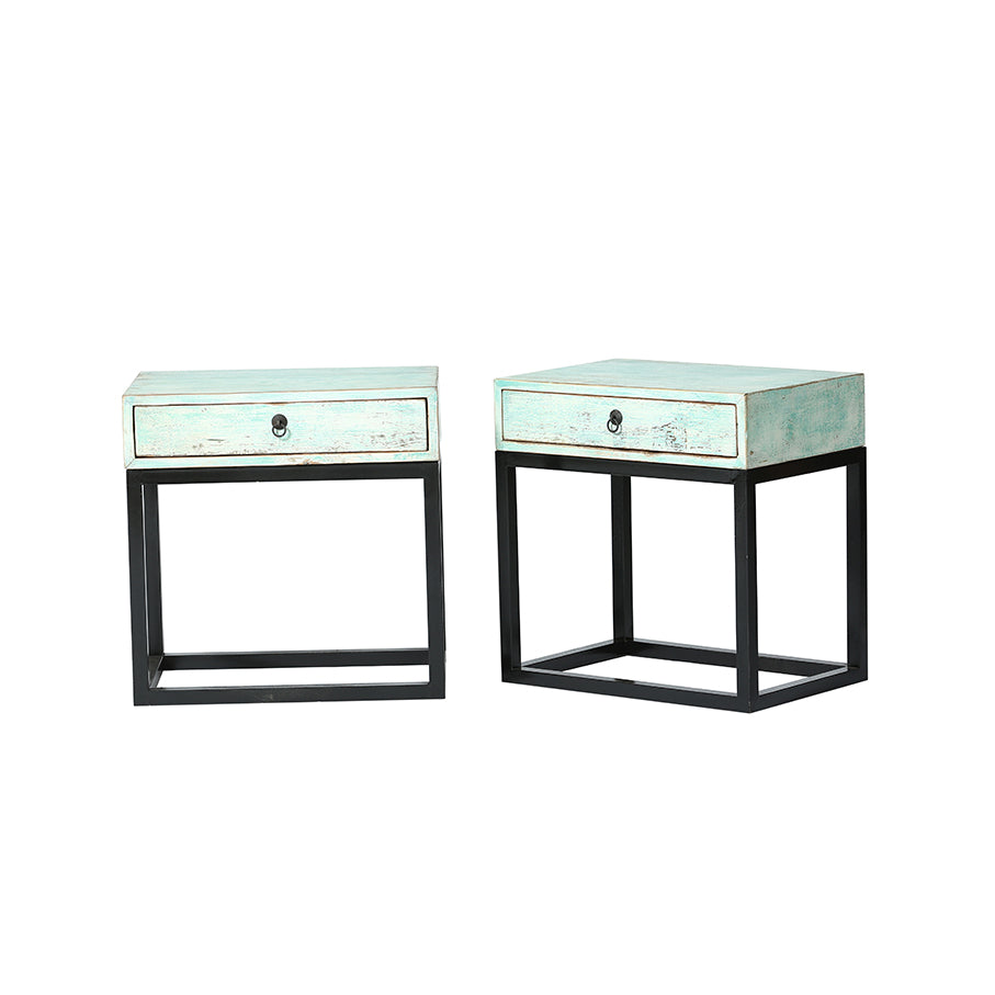 Bedside Tables Set of 2 Green Wash Black Legs 60x40x61cm