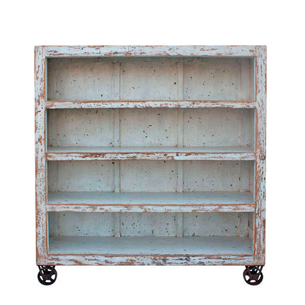 Shelving Unit with Wheels White Wood