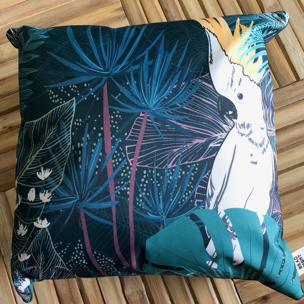 Cushion Outdoor Dark Cockatoo Parrot 45x45cm