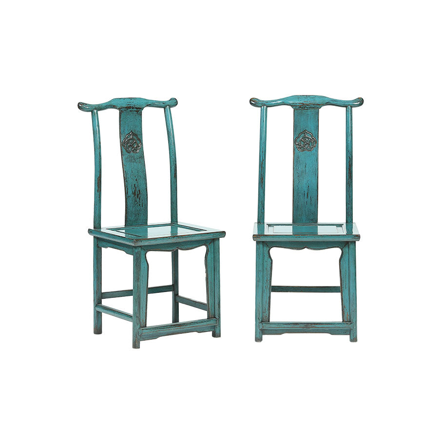Chairs Oriental Set of 2 Petrol
