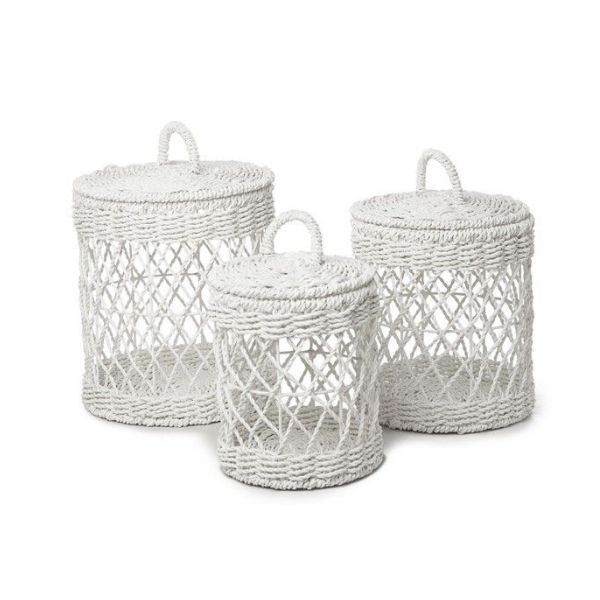 Basket Ketba White Set of 3 Round