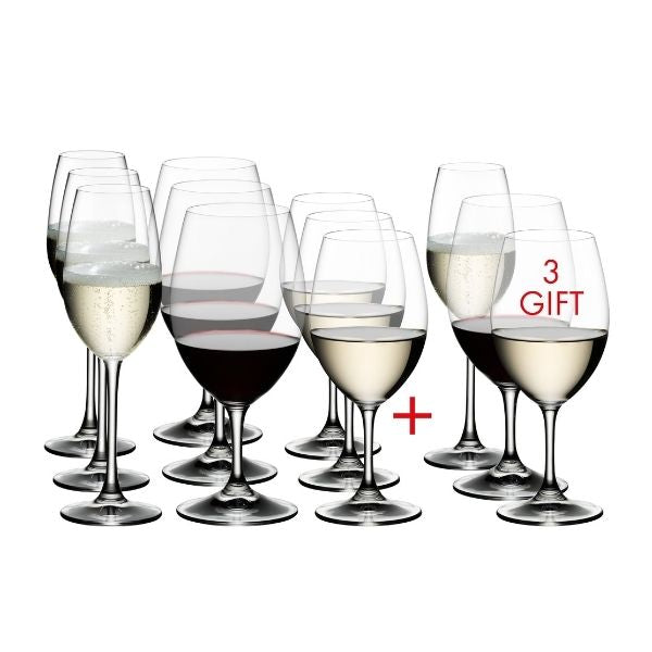 Riedel Ouverture Glasses - Set of 12 Glasses - x4 Champagne + x4 Red Wine + x4 White Wine