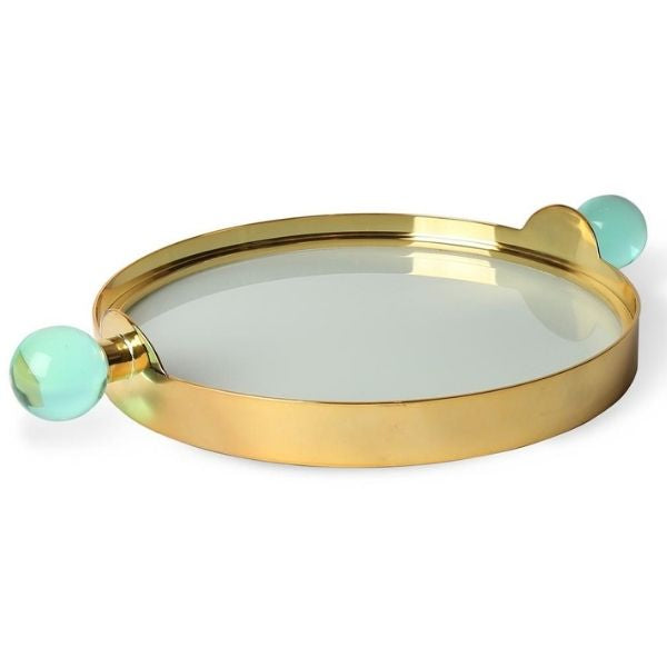 Tray Globo by Jonathan Adler - Brass/Green Lucite