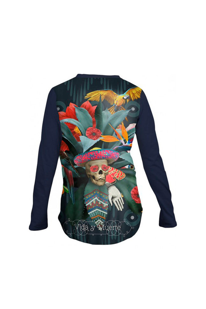 Bonjour Mon Parrot and Skull Long Sleeved Top