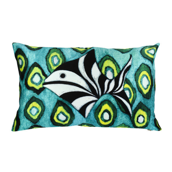 Mariska Meijers Cushion Fish & Green Ikat
