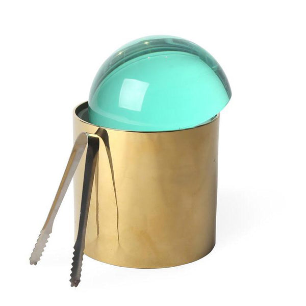 Ice Bucket Globo by Jonathan Adler - Brass/Green Lucite