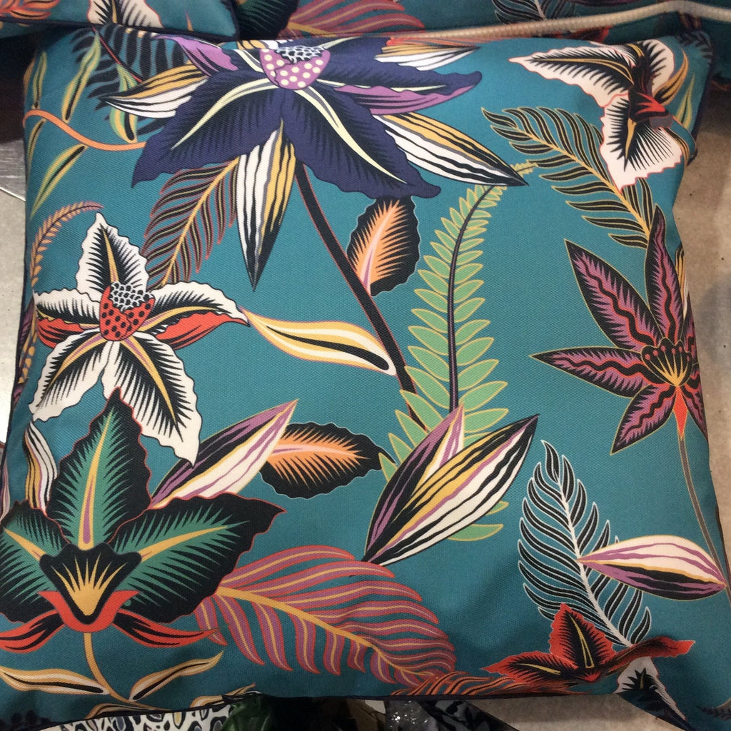Cushion Outdoor Turquoise Plants 45x45cm