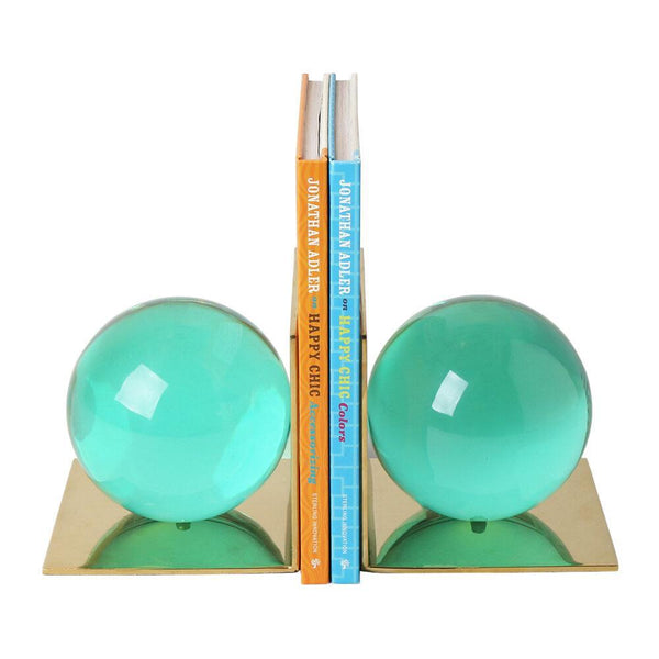 Bookend Set Globo by Jonathan Adler - Green Lucite/ Brass