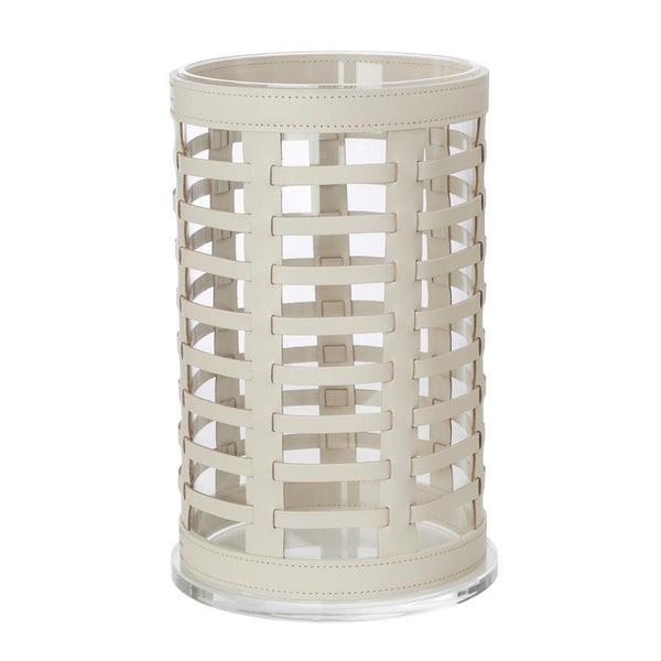 Outdoor Hurricane Lantern Woven Leather Ivory 23x38cm