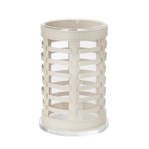 Outdoor Hurricane Lantern Woven Leather Ivory 20x32cm