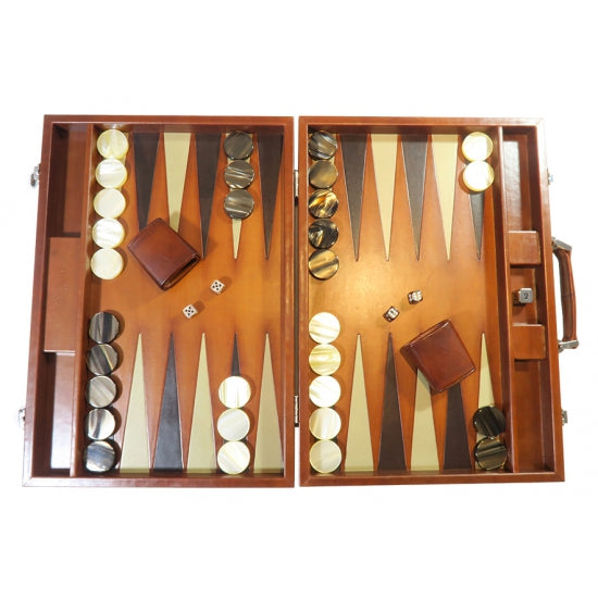 Luxury Handmade Backgammon Set - Large - Vintage Leather Cognac Brown 60x46cm