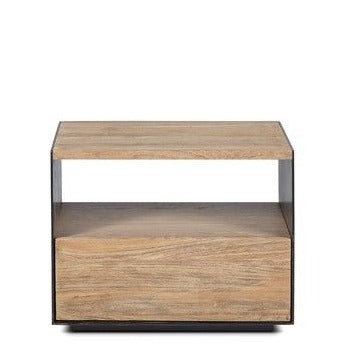 Bedside Table Geox Teak Wood and Iron 50x37x40cm
