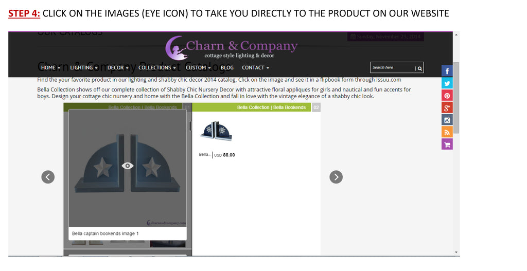 Step 4 in viewing Charn & Company Catalogs