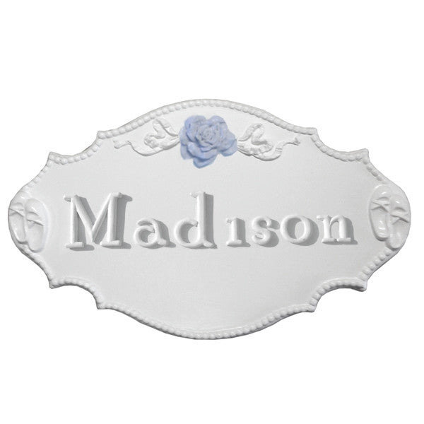 Bella Rosette ribbon custom plaque