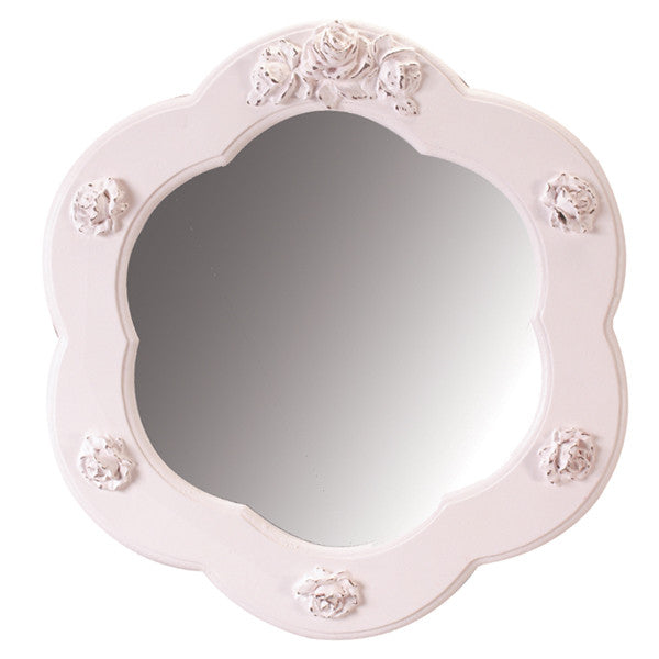 Bella scalloped round mirror in shabby pink