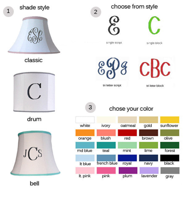 Custom monogram lamp shade personalized lamp shades monogram designs mozeypictures Image collections