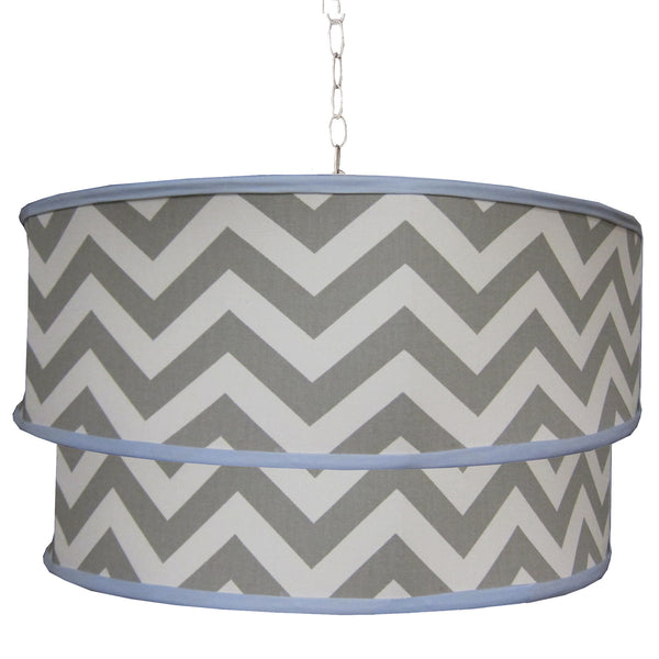 Chevron Gray blue accent double drum modern boy pendant light