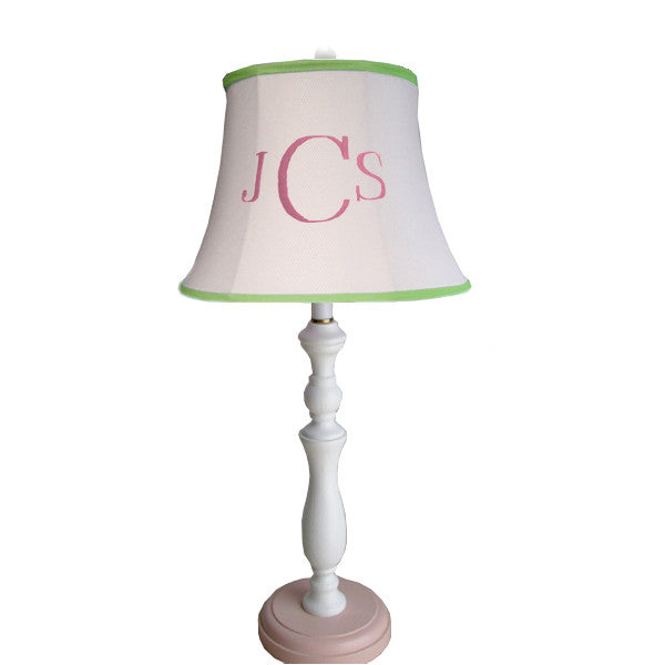 Custom monogram lamp shade personalized lamp shades monogrammed bell shade on spindle lamp mozeypictures Image collections