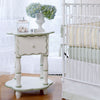 camel scalloped end table in white and dusty green