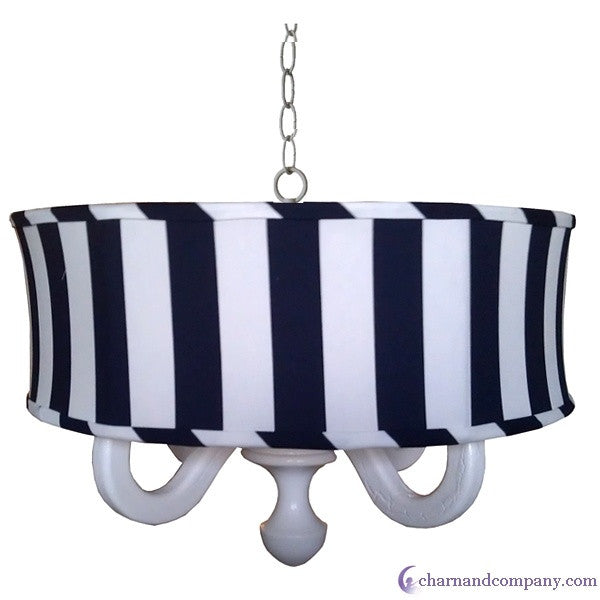 Big stripe Navy drum chandelier