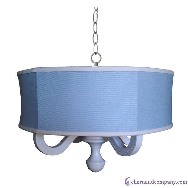 Blue Pique drum chandelier
