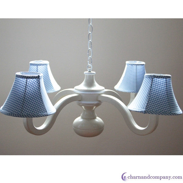 Country blue gingham spindle chandelier