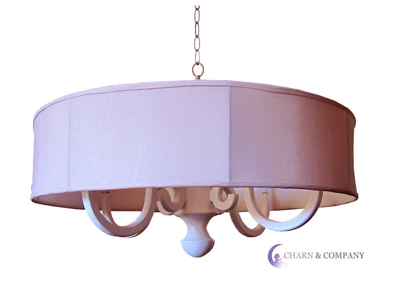 pink drum scroll arm chandelier