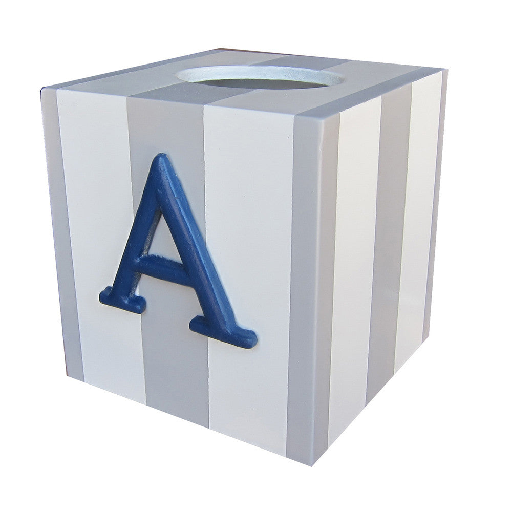 Deluxe striped letter decorative tissue box cover