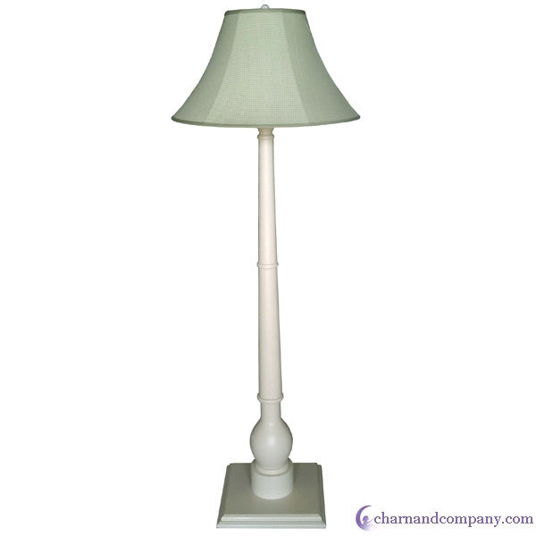 Sage gingham floor lamp