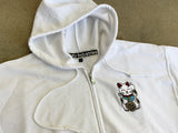 kawaii unlucky cat embroidered zipper hood - WHITE