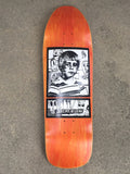 SIGNED jeremy klein portrait hand screened skateboard 9.75 X 32.25 ORANGE