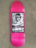 SIGNED jeremy klein portrait hand screened skateboard 9.75 X 32.25 PINK