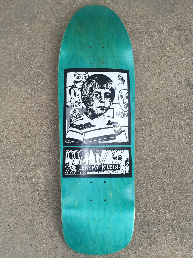 jeremy klein portrait hand screened skateboard 9.75 X 32.25 TEAL BLUE