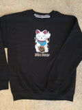 unlucky cat CREW sweatshirt - BLACK