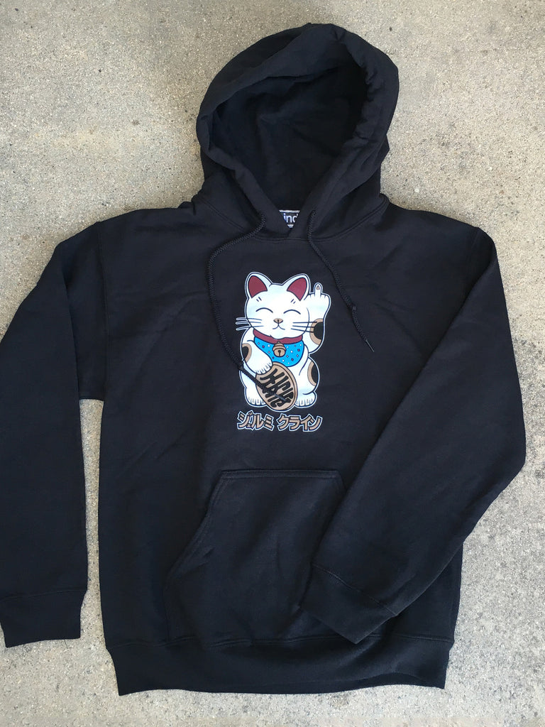 unlucky cat hooded sweatshirt - BLACK