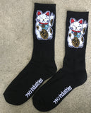 unlucky cat socks - BLACK- 3 PACK