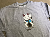 kawaii unlucky cat CREW sweatshirt - HEATHER GRAY