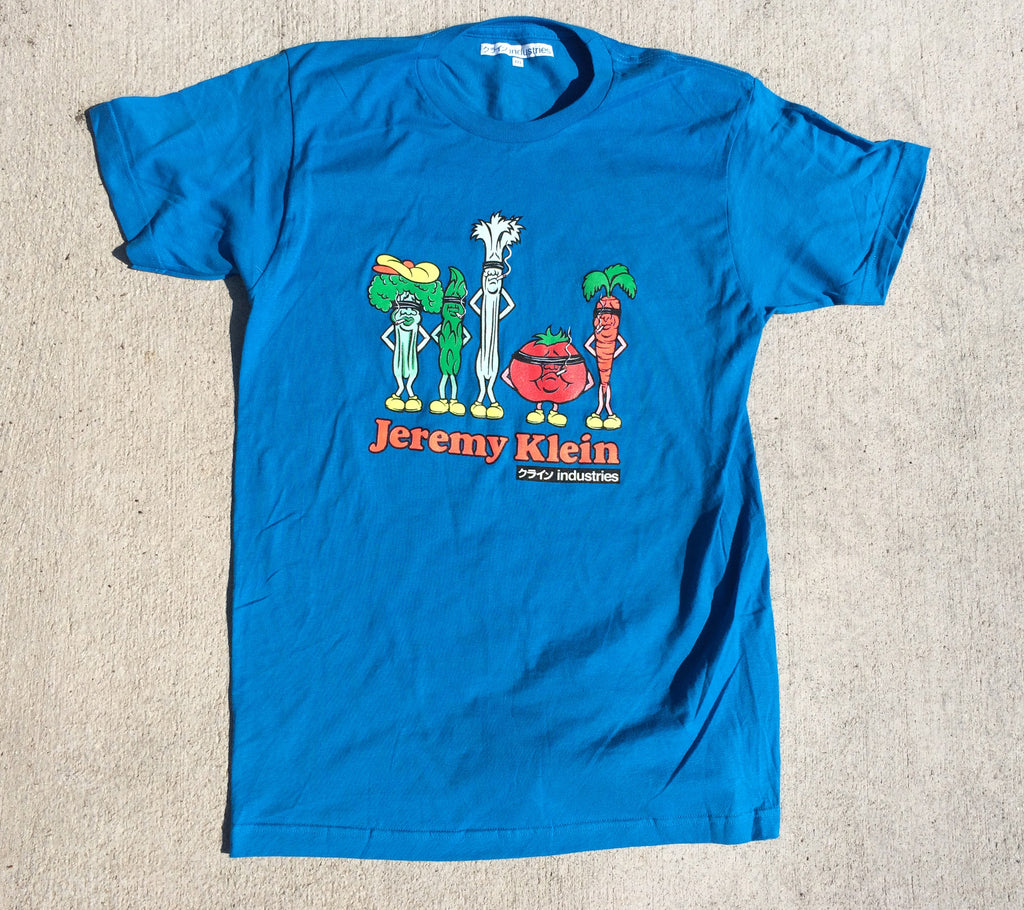jeremy klein silk screened vegetables t-shirt turquoise
