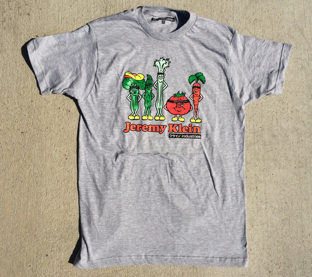 jeremy klein silk screened vegetables t-shirt heather grey
