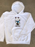 unlucky cat hooded sweatshirt - WHITE