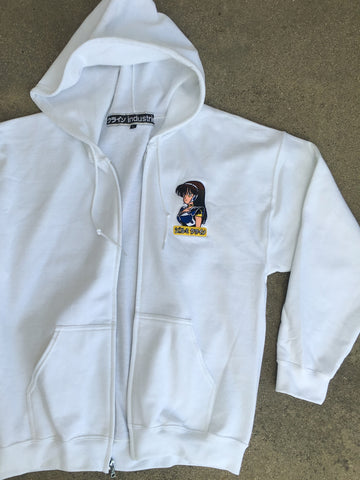 dream girl embroidered zipper hood - WHITE