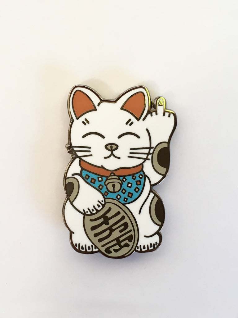 1.25 inch kawaii unlucky cat black nickel enamel pin