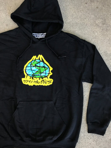 scribble globe hooded sweatshirt - BLACK