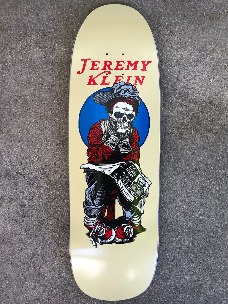 SIGNED black eye kid skull 9.5 X 31.75 wheelbase 14.25 hand screened