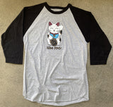kawaii unlucky cat raglan t-shirt heather grey/black