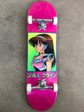 8.5 X 32.25 dream girl hand screened premium complete skateboard - PINK STAIN