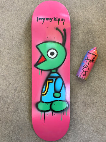 HAND PAINTED bug 8.5 limited edition board with spray can PINK