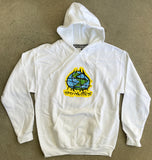 scribble globe hooded sweatshirt - WHITE