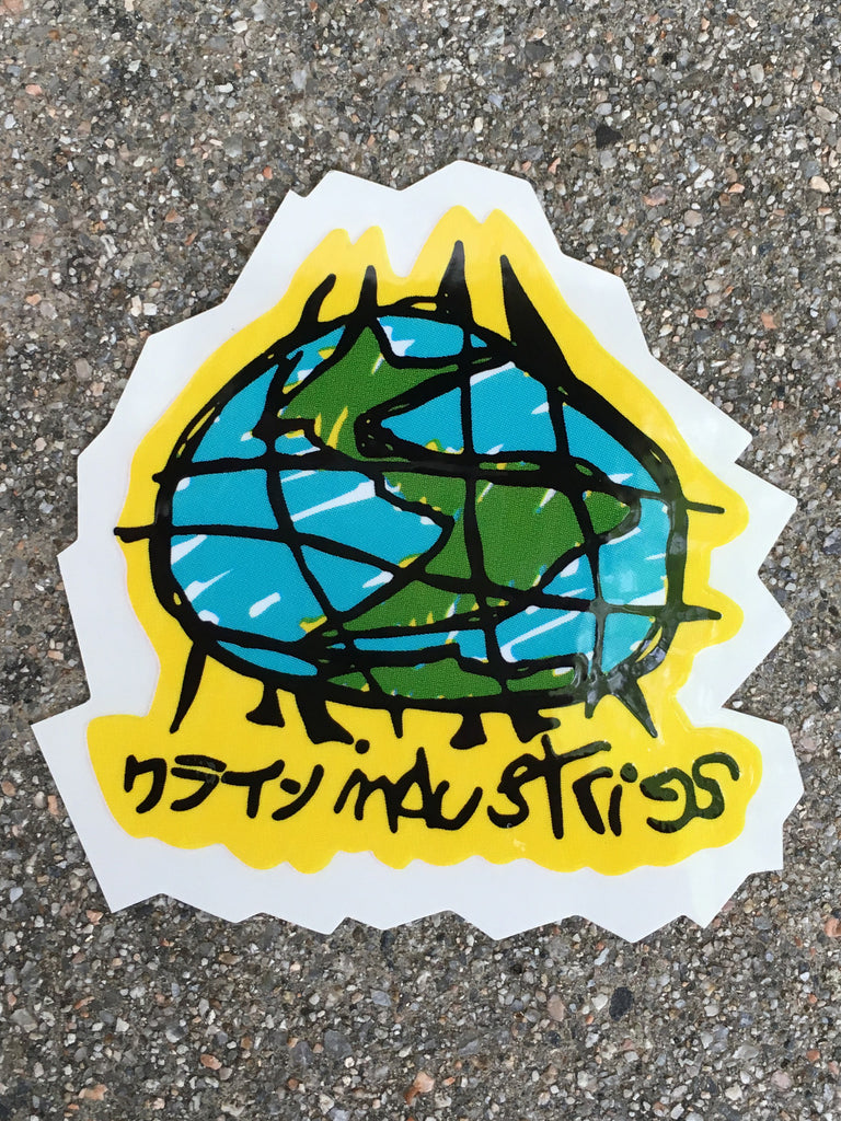 scribble globe screened sticker 3 X 3
